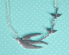 Antiqued Silver Swallow Necklace Mother + Kids | handmade by DamselflyDesignsCo