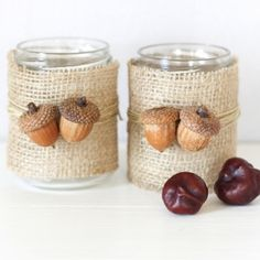 candle holders using burlap and acorn.