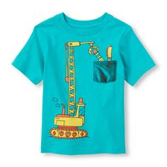 Baby Boys Toddler Boys Short Sleeve Truck And Chest Pocket Graphic Tee - Blue T-Shirt - The Children's Place