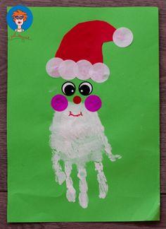 Kerstman handafdruk 1 - knutselen
