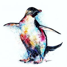 Emily Tan's vibrant creature portraits perfectly encapsulate the beauty of the animal kingdom. The colorful animal paintings or sketch-like drawings pop on Penguin Cartoon, Penguin Art, Penguin Love, Cute Penguins, Pinguin Drawing, Pinguin Tattoo, Colorful Animal Paintings, Colorful Animals, Cute Animals
