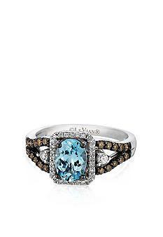 Le Vian® 14k Vanilla Gold™ Sea Blue Aquamarine®, Chocolate Diamond® and Vanilla Diamond™ Ring
