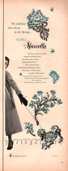 1952 Poodle pin Marvella jewelry print ad by catchingcanaries