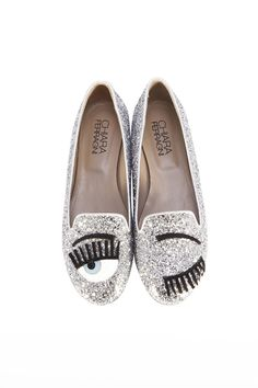 Chiara Ferragni Flirting Silver glitter slippers