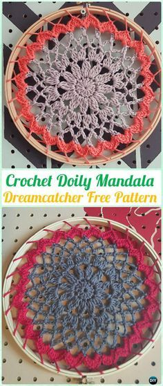 Crochet Doily Mandala DreamCatcher Free Patterns - #Crochet Dream Catcher Free Patterns