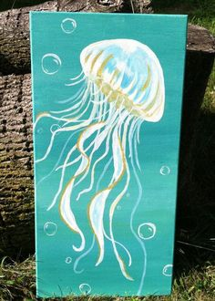 Jellyfish Painting acrylic on canvas Jellyfish Painting, Jellyfish Drawing, Octopus Painting, Jellyfish Tattoo, Wine And Canvas, Easy Paintings, Acrylic Paintings, Beach Art, Painting & Drawing
