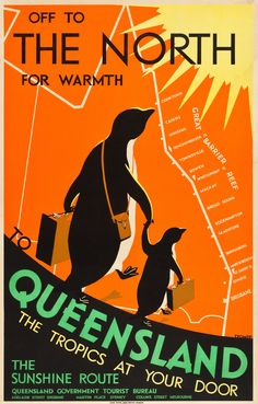 Queensland, Australia Travel Poster: Queensland Government Tourist Bureau, Circa 1935: Design by Percy Trompf