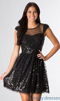 Short Black Cap Sleeve Sequin Dress at SimplyDresses.com