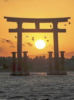 湖上の鳥居に夕日 浜松・弁天島で冬の風物詩 | 静岡新聞