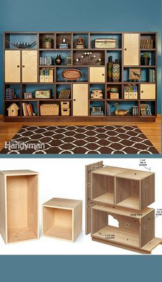 Modular Masterpiece: Build a Fully Customizable Modular Bookshelf A stunning wall unit that's infinitely flexible—customize it to suit your space and your stuff. - My Easy Woodworking Plans Modular Bookshelves, Bookcases, Build A Bookshelf, Plywood Bookcase, Blue Bookshelves, Plywood Storage, Creative Bookshelves, Modular Shelving, Modular Storage