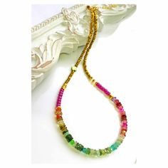 Watermelon Tourmaline Necklace Colorful by PrettyLittleChips