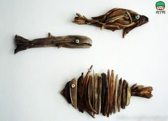 Drift wood fish wall art - Cottage.