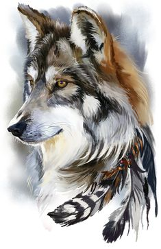 The original image is a psd file: 3 layers: wolf, feathers and dackground You can visit my store and purchase some goods with a prin. Wolf Painting, Feather Painting, Animal Sketches, Animal Drawings, Watercolor Wolf, Wolf Artwork, Drawn Art, Wolf Wallpaper, Wolf Pictures