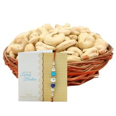 Check out our New Product  Basket full of cashews No Flower COD 200grms cashews each with Red beads and pearl rakhi, roli chawal  ₹849
