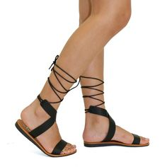 Cruceta Black Slip On Lace Up Flat Sandals