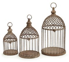 "#burtonandburton Metal decor nested set birdcage with concrete finish, the top opens and hook can be used for hanging.  <br><br>10"" H x 4 1/4"" Opening. <br>13"" H x 6"" Opening. <br>16"" H x 7 1/2"" Opening. <br>1 nested set of 3."