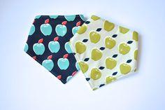 Bandana Bib Set.  Unisex Set of 2 Bandana Bibs.  Bibs in Contrasting Apple Fabrics.  Teething Bibs, Drool Bibs, Dribble Bibs. Unisex Bibs. by EmmaNealeHandmade on Etsy https://www.etsy.com/listing/247015453/bandana-bib-set-unisex-set-of-2-bandana
