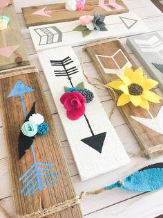Reclaimed Wood Arrow Sign- Hand Painted Arrow and Felt Flowers: Southwest Charm (Tribal) Nursery or Home Decor- Custom Colors Available, Personalized gift idea, Wood sign, Nursery decor, Nursery gallery wall Diy Wood Signs, Painted Wood Signs, Hand Painted, Crafts To Sell, Diy And Crafts, Arts And Crafts, Felt Crafts, Wood Crafts, Decor Crafts