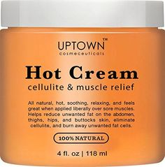 Uptown Cosmeceuticals Hot Anti Cellulite Cream 4 fl oz  100 Natural Cellulite Treatment Promotes Supple  Toned Skin Muscle Relaxant  Pain Relief Cream ** To view further for this item, visit the image link. (Note:Amazon affiliate link)