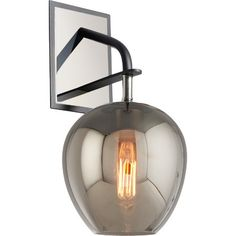 Showcasing a smoked glass shade, polished nickel wall plate, and an eye-catching Edison bulb, this sconce brings contemporary allure to your foyer or master ...