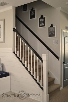 easy Stair Case Makeover with Board and Batten tutorial Ceiling Fan Makeover, Staircase Makeover, Stair Well, Staircase Remodel, Open Staircase, Staircase Ideas, Board And Batten, Foyer Decorating, House Stairs