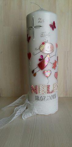 Taufkerzen - Taufkerze Schutzengel Mädchen pink - ein Designerstück von Monchelinis-Kerzenmanufaktur bei DaWanda