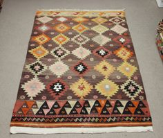 Oriental Vintage Kilim rug 82x57 feet Area rug Room by Damgadecor