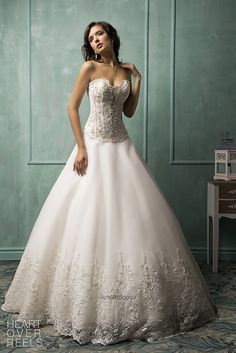 Simple Wedding Dress, Elegant Tulle Sweetheart Neckline Dropped Waistline Ball Gown Wedding Dress With Beaded Lace Appliques, Shop fit and flare dresses that match your bridal style featuring the latests trends. Amelia Sposa Wedding Dress, Wedding Dresses 2014, Gorgeous Wedding Dress, Beautiful Gowns, Bridal Dresses, Wedding Gowns, Lace Wedding, Wedding Blog, Ball Dresses