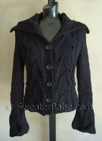 Lace Inset Cardigan or Vest, by Sweater Babe. (Why wouldn't you want those wrist flouncy sleeves?) Multiple sizes, Lamb's Pride Bulky.