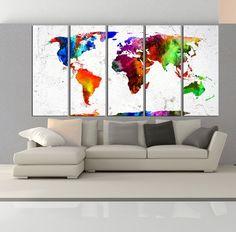 large world map canvas print wall art extra by WorldWallArtShop