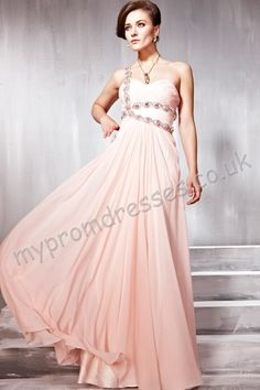 Vancouver Floor Length One-shoulder Pink Chiffon A-line Evening Dress