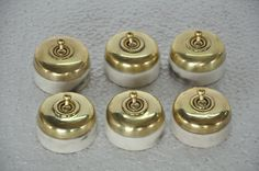 6 Pc Vintage Reeves Brand Brass & Ceramic Electric Switches , England