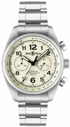 b67fc9b4d07 Bell   Ross Vintage Watch for Men BR 126 Beige Dial Steel Case Bracelet  Swiss Made Auto Chrono Movement