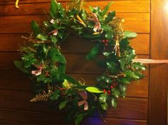 Christmas wreath made from items out of my back garden, minus the bows of course! ;-)