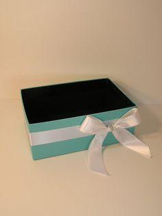Tiffany Blue Wedding  Program Box Amenities Box Bathroom Accessories Box handkerchiefs Box - Customize your color. $29.00, via Etsy.