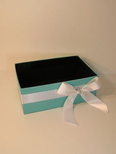 Tiffany Blue Wedding  Program Box Amenities Box Bathroom Accessories Box handkerchiefs Box - Customize your color. $29.00, via Etsy.