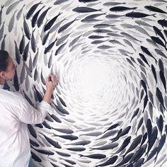Delicate fish paintings express artist Niharika Hukku's elegant vision of the world. #art #painting
