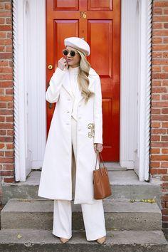 Blair Eadie of Atlantic-Pacific // Winter Whites wearing Tory Burch