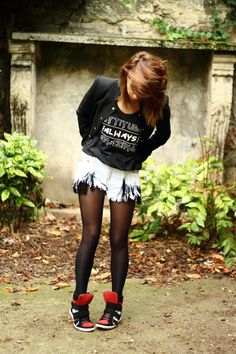 Wear tights under your shorts for a new fall look!
