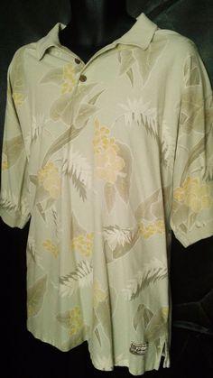 98c41ab2e1f3 Tommy Bahama Short Sleeve Hawaiian Floral Men s Polo Shirt XL  TommyBahama   PoloRugby