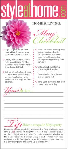 Home & living checklist: May - Style At Home Style At Home, Cleaning Baking Sheets, Planner Organization, Organizing Ideas, Home Maintenance Checklist, Spring Activities, Toddler Activities, Learning Activities, Home Management Binder