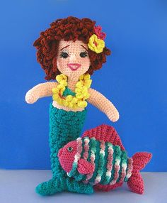 "Pattern available to buy for ""Mandy Mermaid"" by Sue Pendleton."