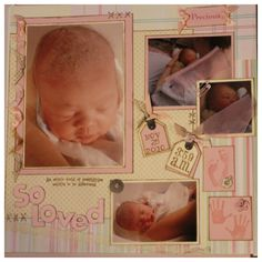 Newborn Baby 2 Page Scrapbook Layout by ALighthouseCreation, $53.00