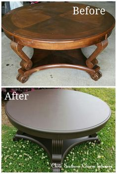 Refinished coffee table painted in western charcoal brown
