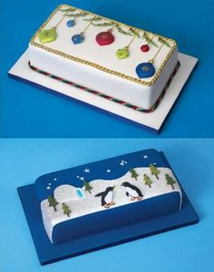 Christmas rectangular cake design More - - Christmas Cake Designs, Christmas Cake Decorations, Christmas Cupcakes, Christmas Sweets, Christmas Cooking, Holiday Cakes, Noel Christmas, Christmas Goodies, Xmas Cakes
