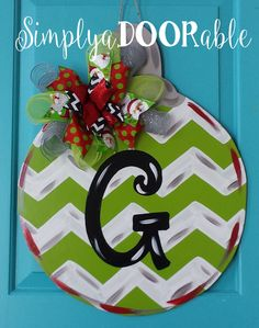 monogram initial christmas ornament wood door hanger by holiday door decor holiday ornament