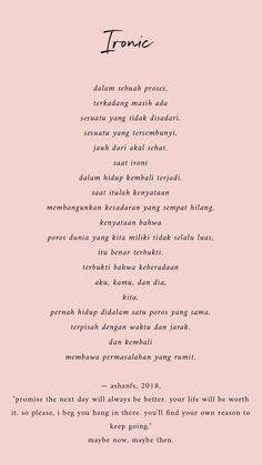 ideas quotes indonesia cinta beda agama for 2019 Reminder Quotes, Poem Quotes, Daily Quotes, Words Quotes, Best Quotes, Life Quotes, Ironic Quotes, Islamic Inspirational Quotes, Motivational Quotes