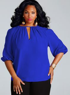 """""""Bianca"""" Draped Slit Sleeve Blouse - Cobalt Blue - Wear to Work - Monif C Plus Size Blouses, Plus Size Dresses, Plus Size Outfits, Plus Size Lingerie, Plus Size Swimwear, Plus Size Fashionista, Plus Size Beauty, Beautiful Blouses, How To Look Pretty"""