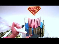 Evil Cake Genius Super Birthday Cake Stencils Super heroes, skyline stencils