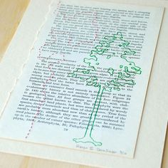 Range II  HandStitched Print  Recycled Text Book No by aquarabbit, $25.00